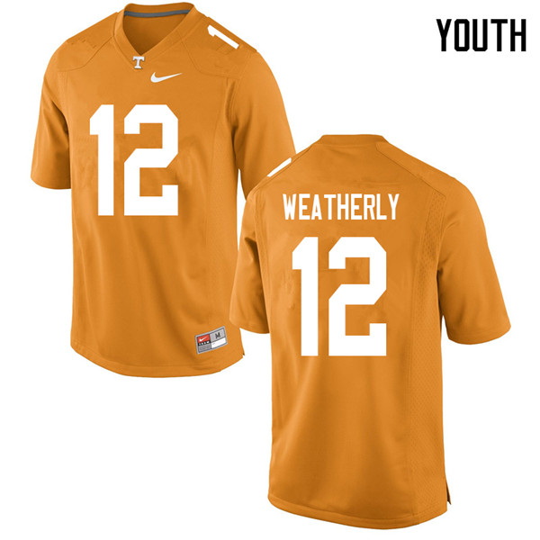 Youth #12 Zack Weatherly Tennessee Volunteers College Football Jerseys Sale-Orange